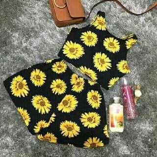 Halter Croptop Terno (Sunflower)