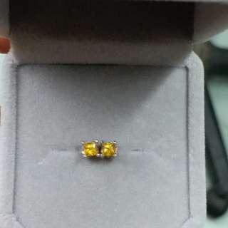 925銀鑲黃色藍寶石耳環