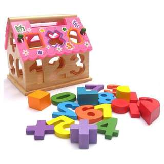 Wooden House Shape Number Sorter Activity Toy