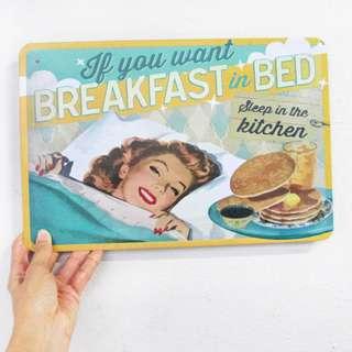 Breakfast in Bed Metal Poster / Sign