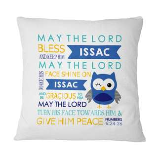 Personalised Cushion Pillow Owl Bible Verse Baby Shower Blue Yellow Baby Boy