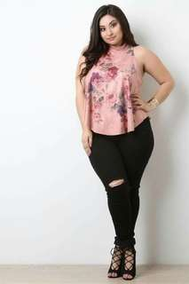 3D Floral Sleeveless Plus Size Blouse