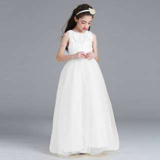 White Girls Princess Flower Girl Lace Long Gown Wedding Dress