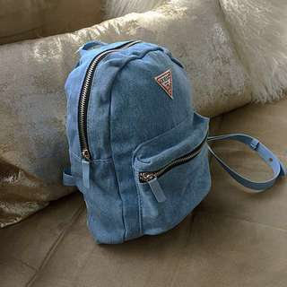 Guess Special Anniversary Light Wash Denim Jean Mini Backpack Purse NEW!