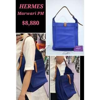 95% New HERMES Marwari Electric Blue (7T) 電光藍 皮革 肩背袋 手袋 Clemence Leather Handbag