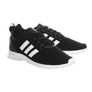 ADIDAS ZX Flux Black Smooth Runners With White 3 Stripe Detail Nike Puma Reebok Lacoste Champion Kappa