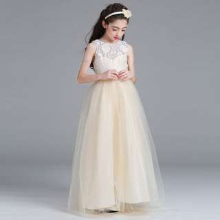 Champagne Girls Princess Flower Girl Lace Long Gown Wedding Dress
