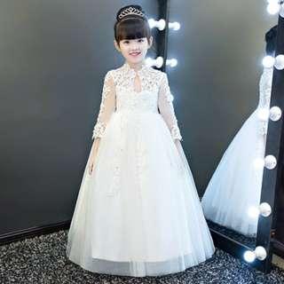 Premium Long sleeves White Wedding Gown Flower Girls Dress