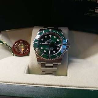 (Sold)Rolex 116610lv Submariner 綠綠亂碼卡