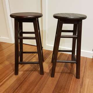 "Two 24"" wooden stools"
