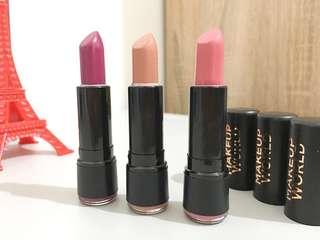 3 x Makeup World Lipsticks
