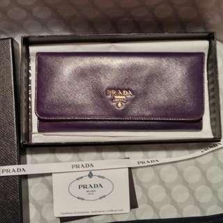 Authentic Prada Saffiano Purple Wallet