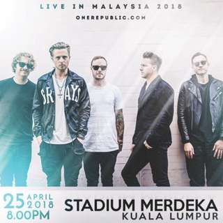 2 tickets for CAT4 OneRepublic in KL