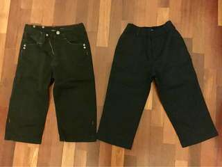 Calvin Klein dark brown pants  & Architect formal black pants, both approx 50cm length, for 2-3yo