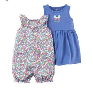 *12M* Brand New Carter's 3-Piece Dress & Romper Set For Baby Girl