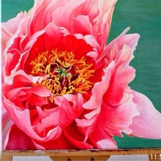 花系列二:《盛开的牡丹》51cmx61cm。丙烯画   flower painting