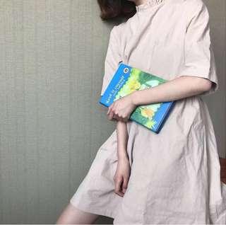 小立領五分袖連身裙 兩色