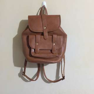 PARISIAN Tan Faux Leather Backpack
