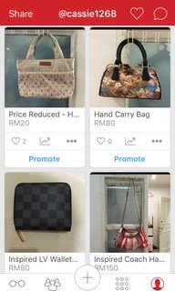 All handbags Offer RM50 (Except Coach)