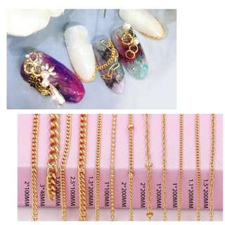Mtssii 1 Box  3D Metal Nail Art Decoration Gold Metal Chain Beads Line Multi-size Snake Bone DIY Manicure Nail Art Decoration