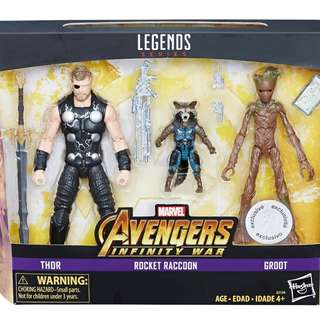 Toys R Us exclusive!  Marvel Legends Avengers: Infinity War Box Sets/ Marvel Avengers 3 sets: Teen Groot, Rocket Raccoon & Thor / Hasbro 玩具反斗城