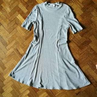 Grey Skater Turtleneck dress