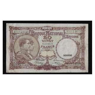 比利時紙幣20法朗