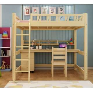 高架床 碌架床 實木床 松木床 單人床 書桌 書枱 電腦桌 電腦枱  前後左右梯 180327-2b 訌造 訂做 送床墊