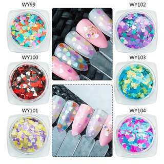 Mtssii 1box  Laser Nail Sequins Heart Shape Nail Sparkles Candy Mix Colors Nail Glitters Heart Pailette Nail Art  DIY Decoration