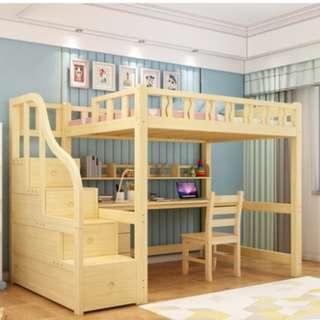 高架床 碌架床 實木床 松木床 單人床 書桌 書枱 電腦桌 電腦枱  前後左右梯 180327-2c 訌造 訂做 送床墊