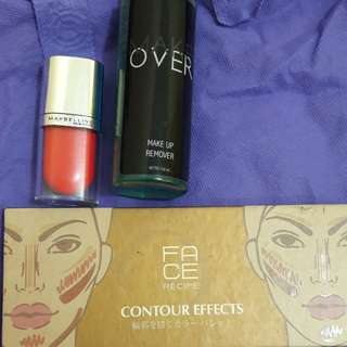 One set liptint, makeup remover, contour pallete