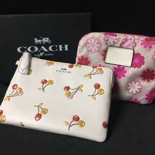 Coach pouch + foldable tote bag