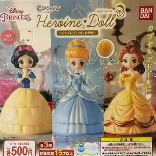 全新 Bandai 迪士尼公主系列 扭蛋 Disney Princess Capchara Heroine Doll 3款 白雪公主 snow white 灰姑娘 Cinderella 貝兒 Belle