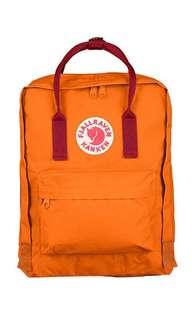 AUTHENTIC Fjallraven Kanken Burnt Orange and Red straps