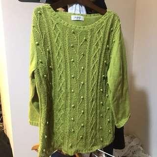 🚚 自由區 free zone 草綠色針織上衣 球狀格菱設計