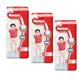 Huggies Silver Pants Diapers Size XXL (3 packs x 34 pcs) Carton Sale