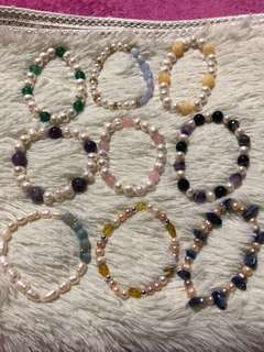 Pearls and Precious stones charms bracelets