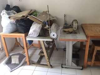 Sepaket mesin jait, benang, mesin potong, bahan, tools meja, dllsb