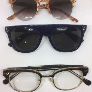 🚚 太陽眼鏡 黑框眼鏡(9成新)