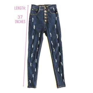Tattered Highwaist Denim Pants