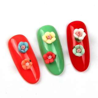 Mtssii 3D Flower Nail Art Stickers Colorful Nail Studs in Wheel Nail Decoration DIY Manicure Accessories