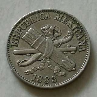 Mexico 1883 Centavo Coin With Very Good Details