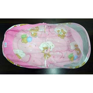 Baby Cot -  With Net And Foldable Pink Color