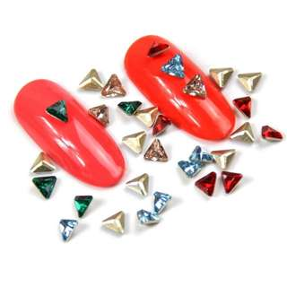 Mtssii Resin Triangle Rhinestones Nail Art Tips UV Gel Polish Decorations 3D Crystal Sharp Bottom DIY Manicure Accessories