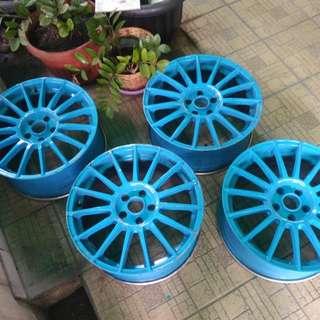 Velg Rep OZ Superturismo LM Pcd 5x112 18x8 Repaint Blue Pirelli