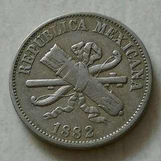 Mexico 1883 2 Centavos Coin With Good Details