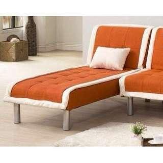 !新生活家具! 降價! 特價!《奶油滾邊》橘色 北歐風 亞麻布 貴妃 躺椅 全拆洗 贈布套 單人座 二色可選 防水耐磨