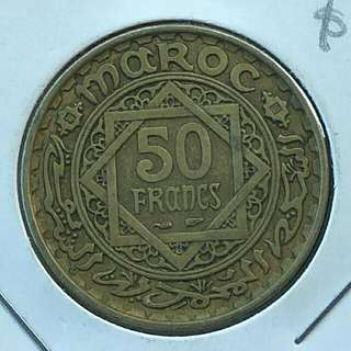 Morocco AH1371(1952) 50 Francs Coin With Good Details.Diameter 27mm