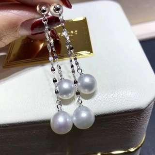 讓人心情瞬間變好的極品……18k澳白白珠9-10mm耳環,很仙氣一款。