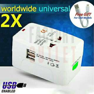 Universal World Wide Travel Adaptor With Dual USB Port For Use In All International Countries Electrical Plugs.